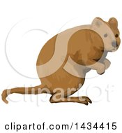 Clipart Of A Watercolor Quokka Royalty Free Vector Illustration