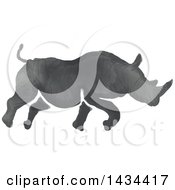 Clipart Of A Watercolor Rhinoceros Running Royalty Free Vector Illustration