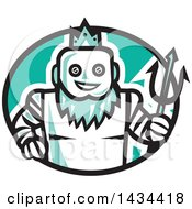 Clipart Of A Retro Robotic Poseidon Holding A Trident In A Black White And Turquoise Oval Royalty Free Vector Illustration