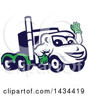 Clipart Of A Retro Cartoon Big Rig Truck Mascot Waving Royalty Free Vector Illustration