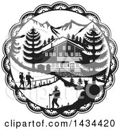 Clipart Of A Retro Black And White Swiss Decoupage Style Chalet In The Alps Royalty Free Vector Illustration