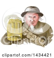 Watercolor Styled Uncle Same WWII Soldier Holding Up A Mug Of Beer