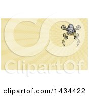 Clipart Of A Retro Knight Helmet Over Crossed Lacrosse Sticks And A Woodcut Banner And Yellow Rays Background Or Business Card Design Royalty Free Illustration