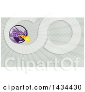 Poster, Art Print Of Retro Fire Breathing Dragon And Rays Background Or Business Card Design