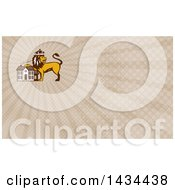 Retro Crowned King Lion Resting A Paw On A House And Brown Rays Background Or Business Card Design