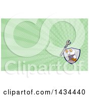 Cartoon Bald Eagle Mechanic Man Holding Up A Spanner Wrench And Green Rays Background Or Business Card Design