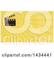 Clipart Of A Retro Clapperboard And Yellow Rays Background Or Business Card Design Royalty Free Illustration