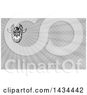 Clipart Of A Retro Face Of Odin With A Beard And Helmet And Bind Over One Eye And Gray Rays Background Or Business Card Design Royalty Free Illustration