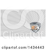 Clipart Of A Retro Pelican Bird Holding A Basketball In His Beak And Gray Rays Background Or Business Card Design Royalty Free Illustration by patrimonio
