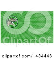 Poster, Art Print Of Retro Lizard Rator Or Tyrannosaurus Rex Head And Green Rays Background Or Business Card Design