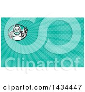 Clipart Of A Retro Robotic Poseidon Holding A Trident And Turquoise Rays Background Or Business Card Design Royalty Free Illustration