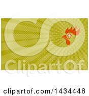 Retro Orange Rooster Head With A Shutter Eye And Green Rays Background Or Business Card Design
