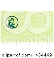 Retro Man Triton Mythological God Holding A Trident In Folded Arms And Green Rays Background Or Business Card Design