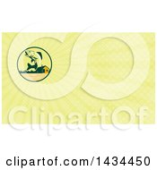 Clipart Of A Retro Walleye Fish Jumping In Front Of A Lake Cabin And Yellow Rays Background Or Business Card Design Royalty Free Illustration