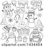 Clipart Of Black And White Lineart Snowmen And Christmas Items Royalty Free Vector Illustration