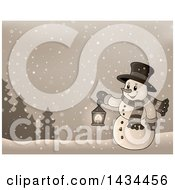 Clipart Of A Sepia Toned Snowman Holding A Lantern In The Snow Royalty Free Vector Illustration