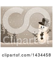 Clipart Of A Sepia Toned Snowman In The Snow Royalty Free Vector Illustration