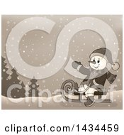 Clipart Of A Sepia Toned Snowman Sledding In The Snow Royalty Free Vector Illustration