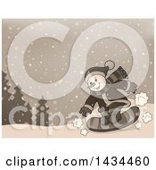 Clipart Of A Sepia Toned Snowman Snowboarding Royalty Free Vector Illustration
