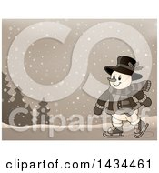 Clipart Of A Sepia Toned Snowman Ice Skating In The Snow Royalty Free Vector Illustration