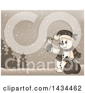 Clipart Of A Sepia Toned Snowman Ringing A Charity Bell In The Snow Royalty Free Vector Illustration