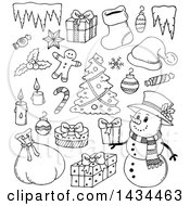 Clipart Of Black And White Lineart Christmas Items Royalty Free Vector Illustration