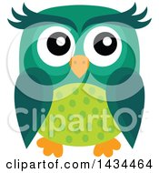 Clipart Of A Green Owl Royalty Free Vector Illustration by visekart