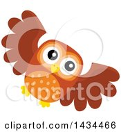 Clipart Of A Flying Owl Royalty Free Vector Illustration by visekart