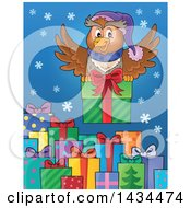 Festive Owl Flying With A Christmas Gift Over Presents