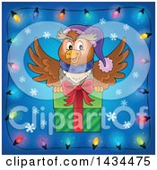 Festive Owl Flying With A Christmas Gift In A Border Of Lights
