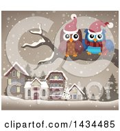 Clipart Of Christmas Owls On A Branch Over A Village Royalty Free Vector Illustration by visekart