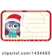 Clipart Of A Christmas Owl Tag Or Label Royalty Free Vector Illustration by visekart
