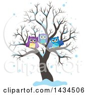 Clipart Of A Family Of Owls In A Bare Tree In The Snow Royalty Free Vector Illustration by visekart