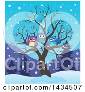 Clipart Of A Family Of Owls In A Bare Tree In The Winter Royalty Free Vector Illustration by visekart