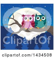 Clipart Of A Pair Of Owls Perched On A Branch Against A Forest And Full Moon Royalty Free Vector Illustration by visekart