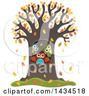 Clipart Of A Family Of Owls In A Tree Hollow In The Fall Royalty Free Vector Illustration by visekart