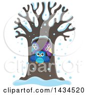 Clipart Of A Family Of Owls In A Tree Hollow In The Snow Royalty Free Vector Illustration by visekart