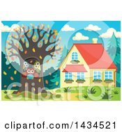 Clipart Of A Family Of Owls In A Tree Hollow Of A Yard In The Fall Royalty Free Vector Illustration