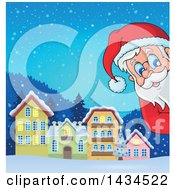 Clipart Of A Winter Village And Santa Peeking Around A Corner Royalty Free Vector Illustration by visekart
