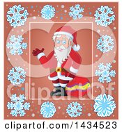 Clipart Of A Christmas Santa Inside A Snowflake Frame Royalty Free Vector Illustration by visekart