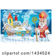 Clipart Of A Saint Nicholas In A Village Royalty Free Vector Illustration