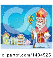 Clipart Of A Saint Nicholas In A Village Royalty Free Vector Illustration by visekart