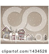 Clipart Of A Christmas Tree And Village In The Snow Royalty Free Vector Illustration by visekart