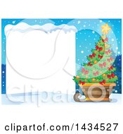 Christmas Tree In A Sleigh By A Blank Sign