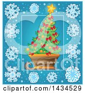 Clipart Of A Christmas Tree In A Sled Inside A Blue Snowflake Frame Royalty Free Vector Illustration