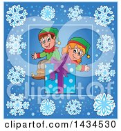 Clipart Of A Christmas Gift And Elves Inside A Blue Snowflake Frame Royalty Free Vector Illustration by visekart