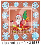 Clipart Of A Christmas Santa Inside A Snowflake Frame Royalty Free Vector Illustration