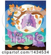 Group Of Playful Bats With An Autumn Tree Branch And Full Moon