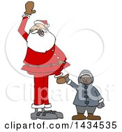 Cartoon Christmas Santa Claus Holding Hands With A Black Boy