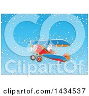 Clipart Of Santa Claus Flying A Biplane In A Snowy Sky Royalty Free Vector Illustration by Alex Bannykh